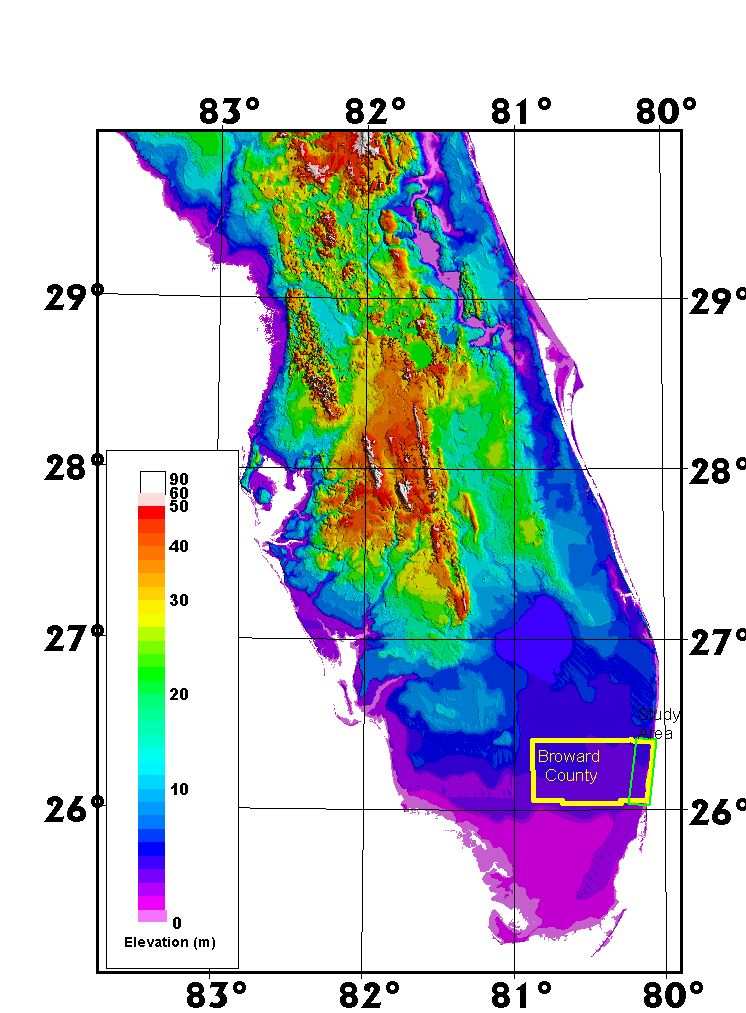 An Airborne Laser Topographic Mapping Study Of Eastern Broward - Ground elevation map
